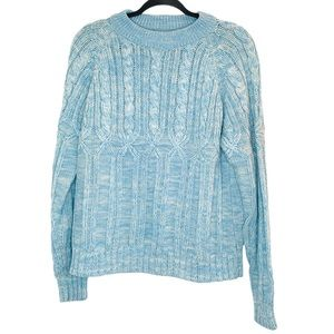Vintage Crewneck Sweater Medium Knitted Blue White
